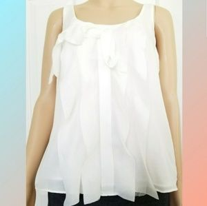 LOFT Blouse Cascading Ruffle Sleeveless Top Sz M